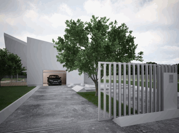 A modern looking white house with an automatic gate and concrete driveway.