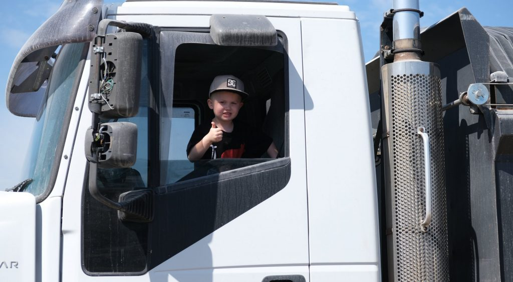 One of Moreton Bay Recycling's family business customers, Michael, visited the yard to drop off some concrete waste and brought their son, Jayden, to check it all out.