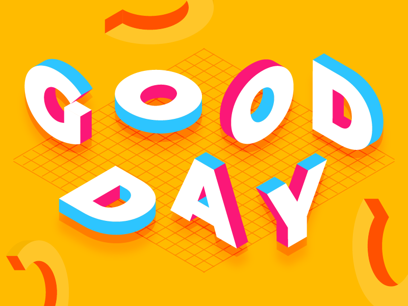 "Abstract brightly coloured illustration that spells ""GOOD DAY""."