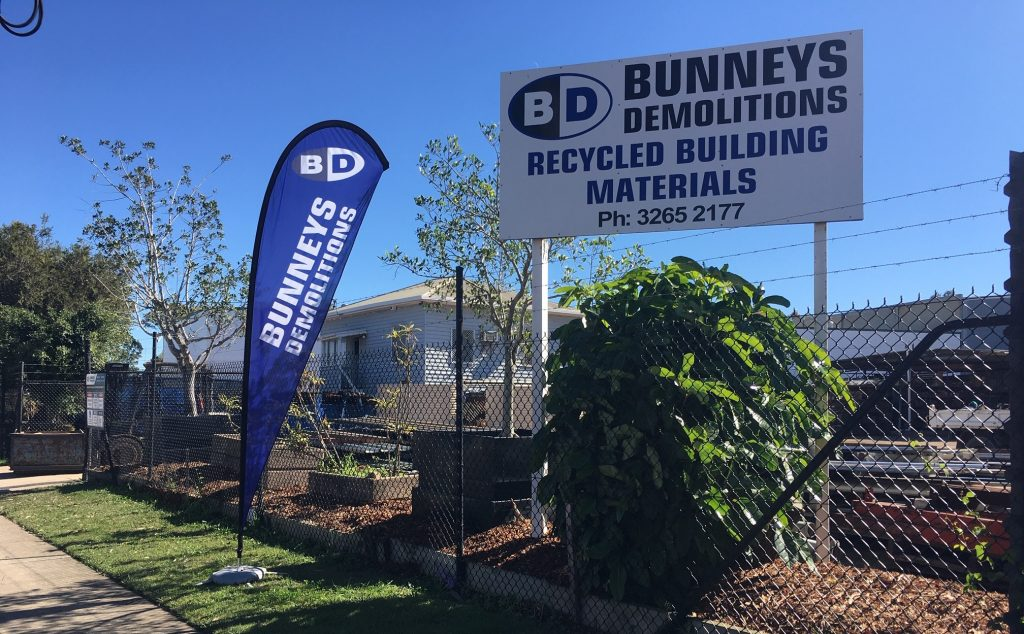 Bunneys Demolitions signs shown out the front of their facility in Virginia