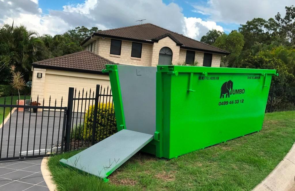Jumbo Skip bin shown in residential street.