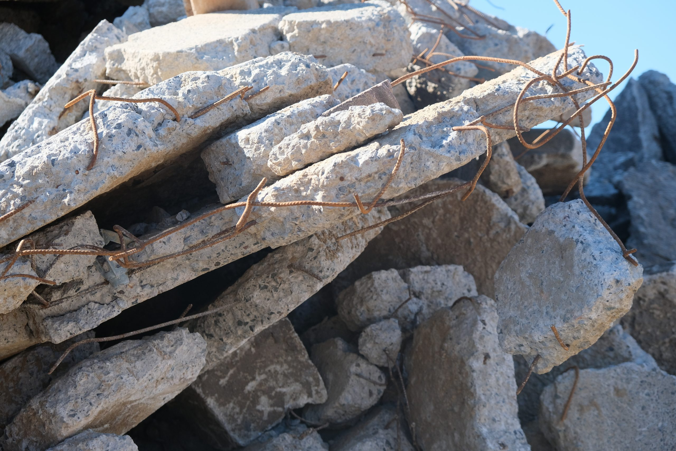 Pile of concrete waste with reinforcement steel