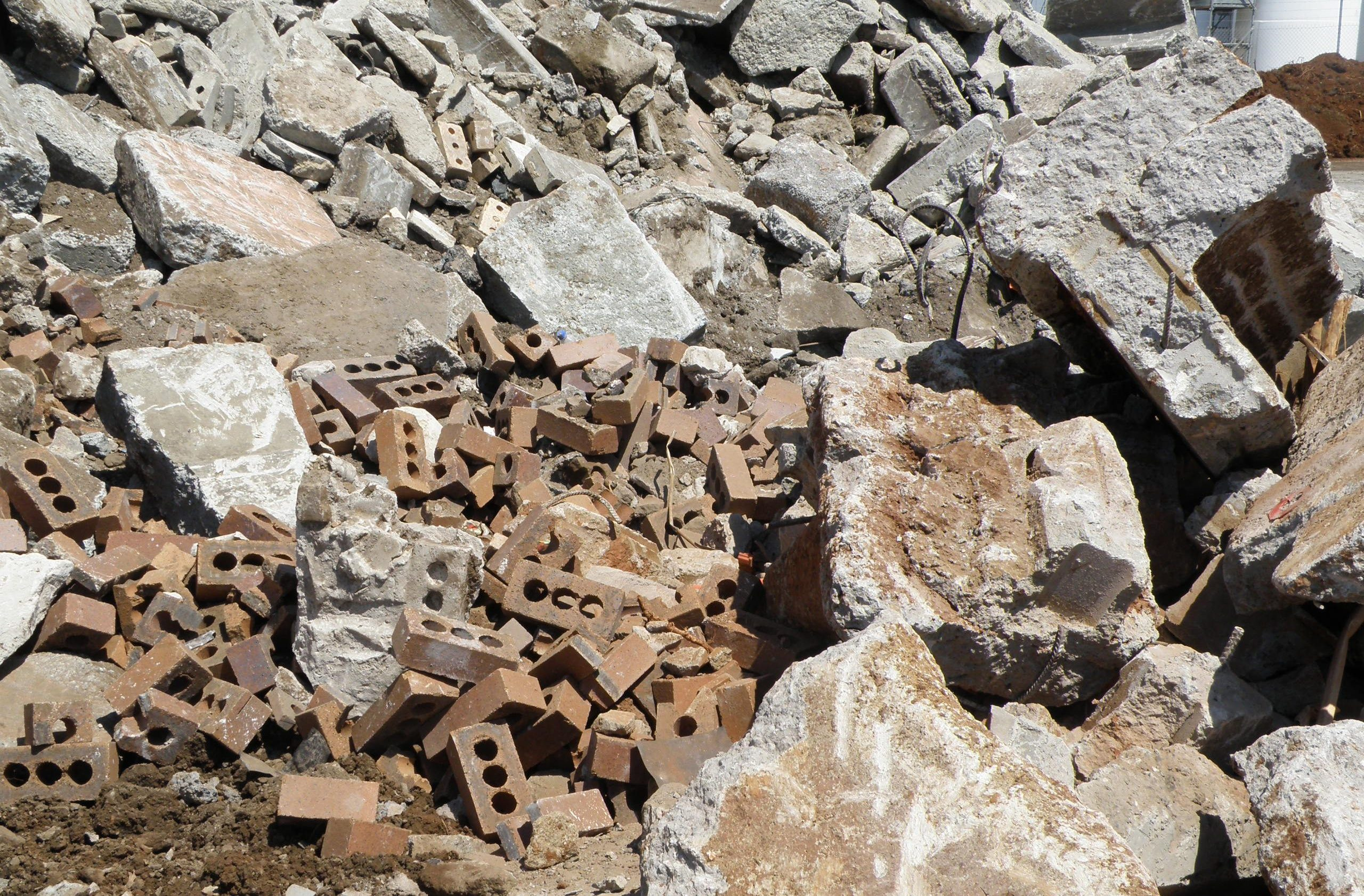 Pile of brick waste