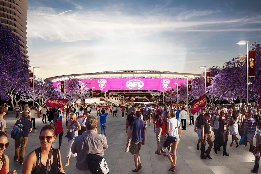 Artist impression of the Gabba in Brisbane after being rebuilt for the 2032 Olympics.