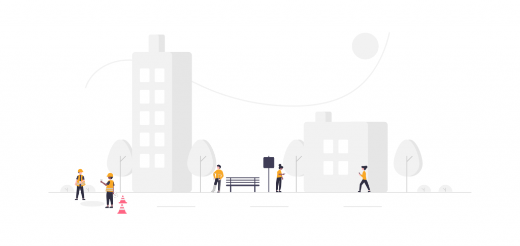 Illustration of construction workers on a road in an urban area.