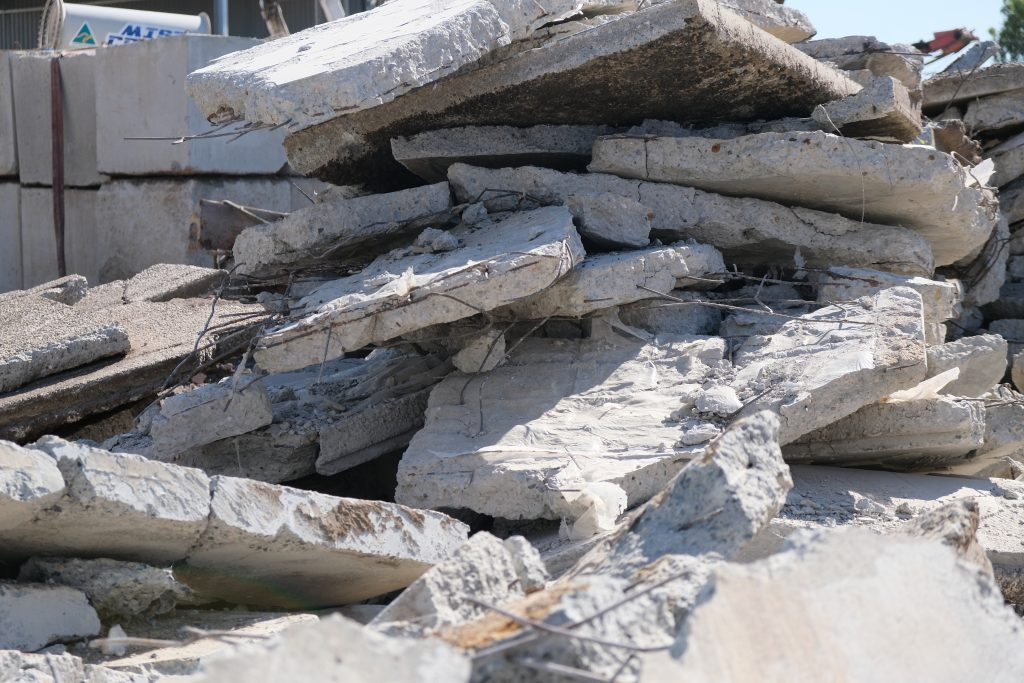 A stack of concrete slabs awaiting recycling.